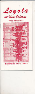 1971 - 1972 Loyola New Orleans Basketball press Media guide