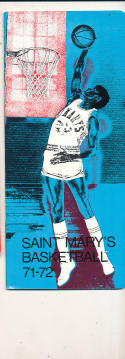 1971 - 1972 Saint Mary's california Basketball press Media guide
