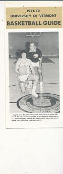 1971 - 1972 Vermont Basketball press Media guide