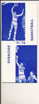 1971 - 1972 Syracuse Basketball press Media guide