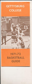 1971 - 1972 Gettysburg college  Basketball press Media guide