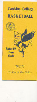 1972 - 1973 Canisius College University Basketball press Media guide