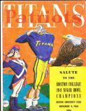 November 11, 1960 New England Patriots vs New York Titans football program