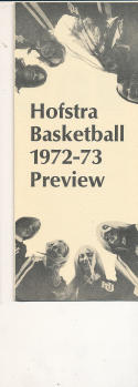 1972 - 1973 Hofstra University Basketball press Media guide