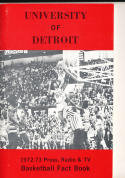 1972 - 1973 Detroit University Basketball press Media guide