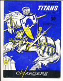 8/6 1960 San Diego Chargers vs New York Titans football program - first game!