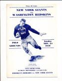 11/24 1940 New York Giants vs Washington Redskins Football Program