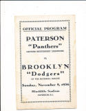 11/8 1936 Paterson Panters vs Brooklyn Dodgers NFL  program