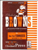 9/18 1949 Cleveland Browns vs Yankees AAFC Football Program