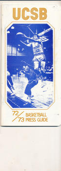 1972 - 1973 University Santa Barbara Basketball press Media guide