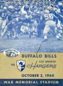 October 2nd, 1960 Buffalo Bills vs Los Angeles Chargers football program