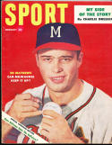 1954 February Sport Magazine Ed Mathews Milwuakee Braves em