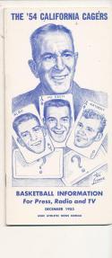 California 1953 - 1954 Basketball press Media guide  bxpac10