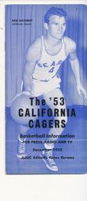 California 1952 - 1953 Basketball press Media guide  bxpac10