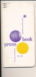 Washington University 1961 - 1962 Basketball press Media guide  bxpac10