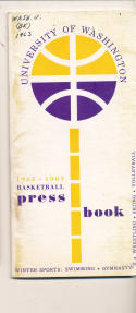 Washington University 1962-1963 Basketball press Media guide  bxpac10