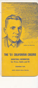 California 1950 - 1951 CM Price Basketball press Media guide  bxpac10