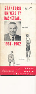 Stanford  1961 - 1962 Basketball press Media guide  bxpac10