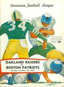 October 16, 1960 Boston Patriots vs Oakland raiders first football program n