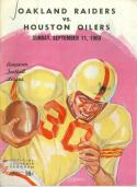 September 11th, 1960 Houston Oilers vs Oakland raiders first football program