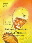 September 16th, 1960 Dallas Texans vs Oakland raiders 2nd football program