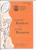 September 7, 1968 Oakland Raiders vs Denver Broncos football program mt portland