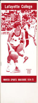 1974 - 1975 Lafayette college Basketball press Media guide bx74