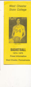 1974 - 1975 West Chester State college  Basketball press Media guide bx74