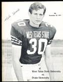 1971 11/20 West Texas State vs Drake Football program