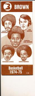 1974 - 1975 Brown Basketball press Media guide bx74