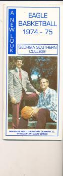 1974 - 1975 Georgia Southern College Basketball press Media guide bx74