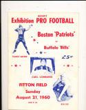 1960 8/21 Boston Patriots vs Buffalo Bills AFL Football Program pre season rare