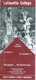 1976 Lafayette Basketball Media Guide bkbx5.1246