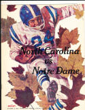 1966 10/15 north Carolina vs Notre Dame  football program