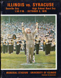 1970 10/3 Illinois vs Syracuse football program